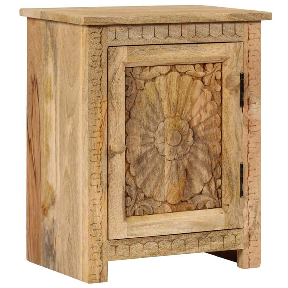 Mango Wood Bedside Table with Decorative Door