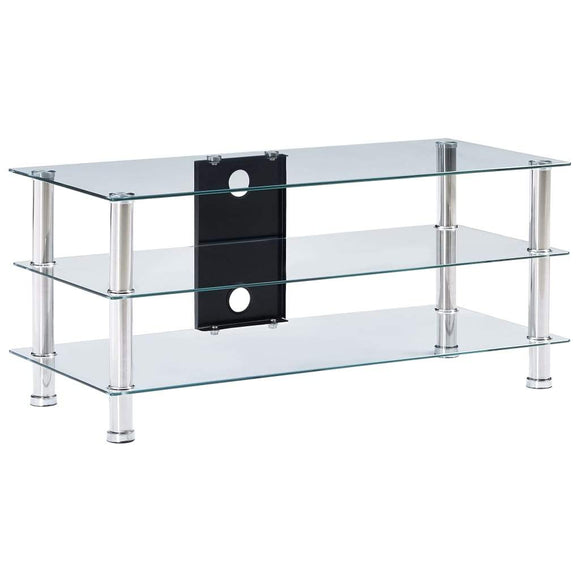 TV Stand Transparent 90x40x40 cm Tempered Glass