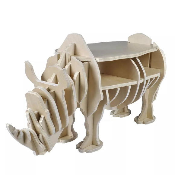 Wooden Rhino Home Decor Shelf Book Organiser Side Table