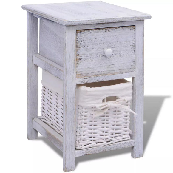 Wooden Bedside Table with Wicker Basket White