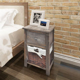 Wooden Bedside Table with Wicker Basket Brown