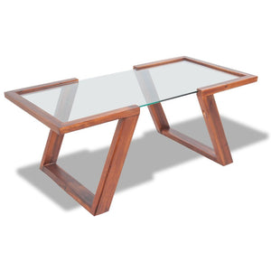 Coffee Table Solid Acacia Wood Brown 100x50x40 cm