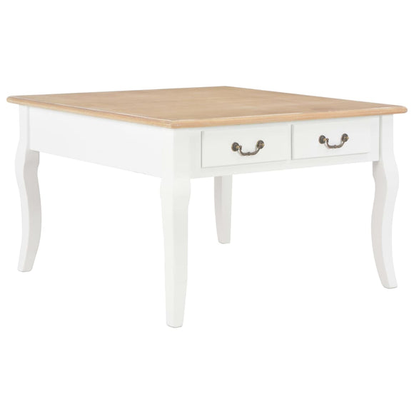 White Coffee Table with Wooden Top