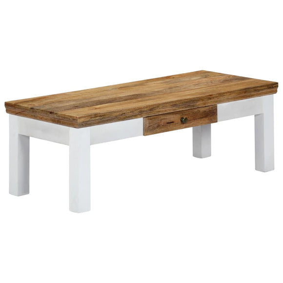Two Tone Mango Wood Coffee Table with Feature Drawer