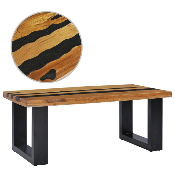 Solid Teak Wood and Lava Stone Coffee Table