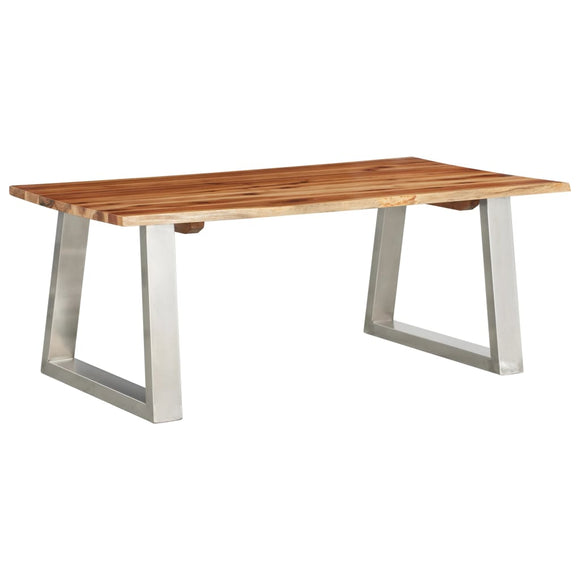 Coffee Table 100x60x40 cm Solid Acacia Wood and Stainless Steel