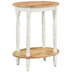 Round Two Tier Side Table White with Wooden Shelves
