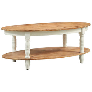 Two Tier Oval Coffee Table with Decorative Legs