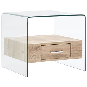 Coffee Table with Drawer 50x50x45 cm Tempered Glass