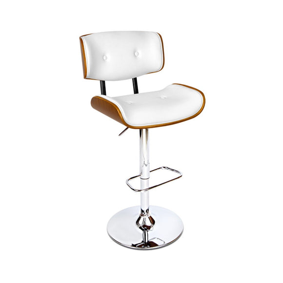 Luxury Wooden Gas Lift Bar Stool White