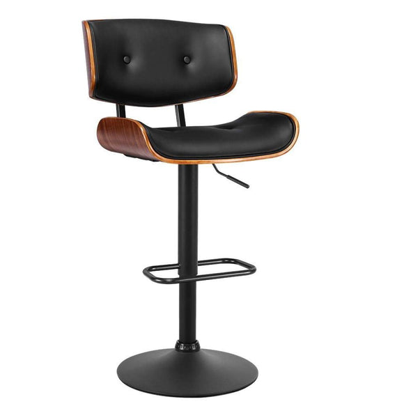 Luxury Wooden Gas Lift Bar Stool Double Black