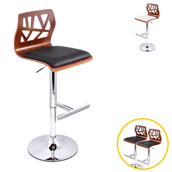 💎 Set of 2 Stylish Wooden Gas Lift Bar Stools
