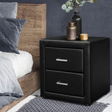 Faux Leather Black Bedside Table