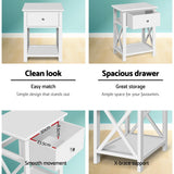 Cottage Style Bedside Table White