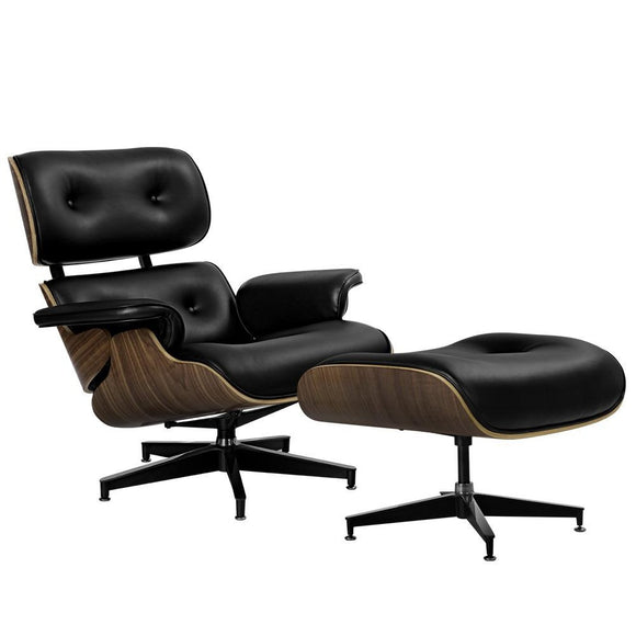 💎 Replica Eames PU Leather and Wood Armchair and Ottoman