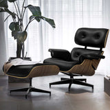 Replica Eames PU Leather and Wood Armchair and Ottoman