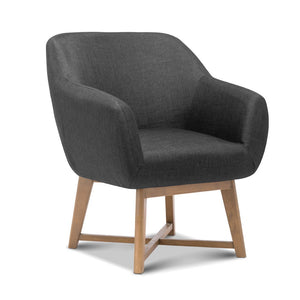 Tub Armchair with Wooden Criss Cross Base Charcoal