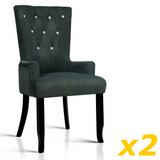 French Provincial Dining Chair - Dark Grey