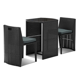 Modern 3 Piece Wicker Outdoor Table and Chair Set Black
