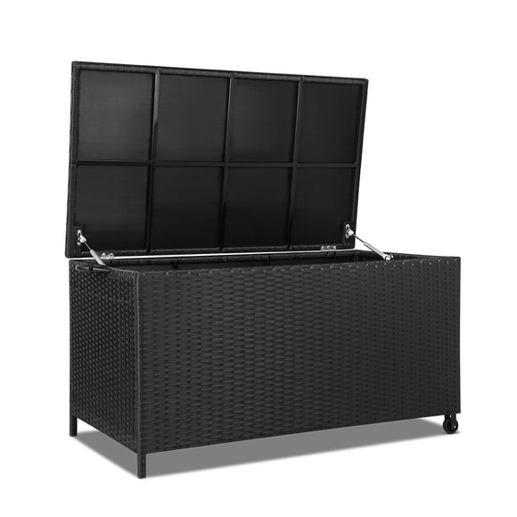 Stylish Outdoor Wicker Storage Box Black 320L