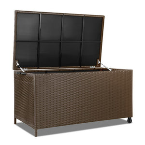 Stylish Outdoor Wicker Storage Box Brown 320L