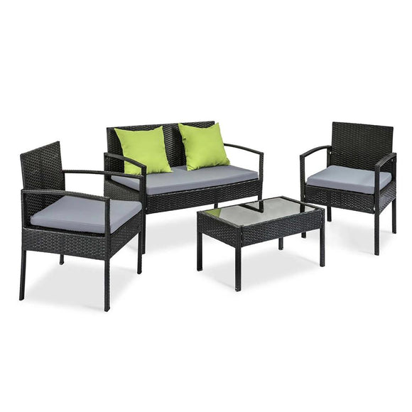 Modern 4 Piece Outdoor Wicker Furniture Set Black