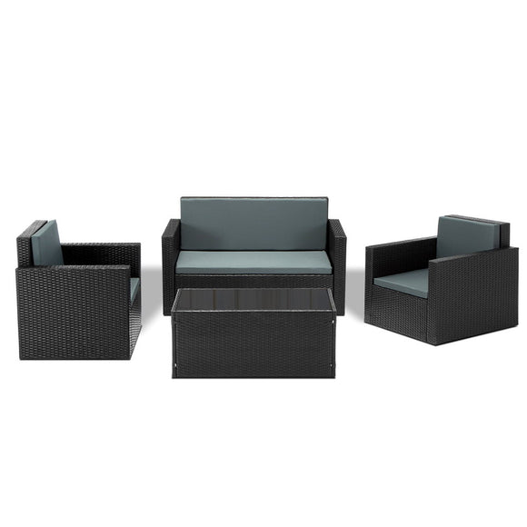 Modern 4 Piece Outdoor Wicker Table & Chairs Lounge Set Black