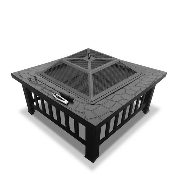 Stone Pattern Outdoor Fire Pit and Grill
