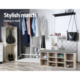 Modern Fabric Shoe Bench with Storage Shelves Oak