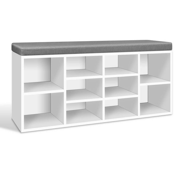 Modern Fabric Shoe Bench with Storage Shelves White