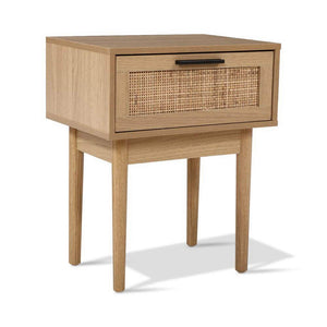 Single Drawer Wood & Rattan Bedside Table