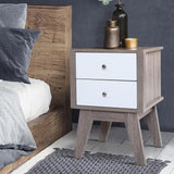 Two Tone Grey and White Bedside Table