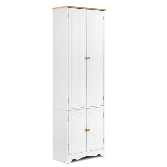 Classic Style Kitchen Pantry Cabinet with 6 Adjustable Shelves 180cm