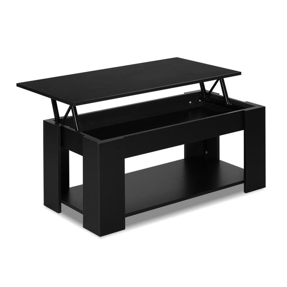 Lift Up Top Coffee Table Storage Shelf Black