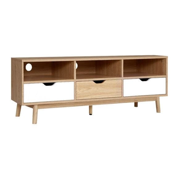 Scandinavian Two Tone Natural Look TV Cabinet Entertainment Unit 140cm