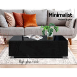 Modern Coffee Table 4 Storage Drawers High Gloss Living Room Furniture Black