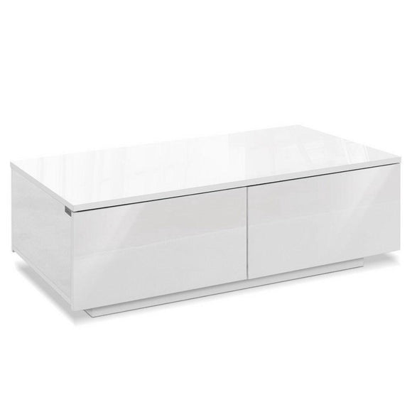 Modern Coffee Table 4 Storage Drawers High Gloss Living Room Furniture White
