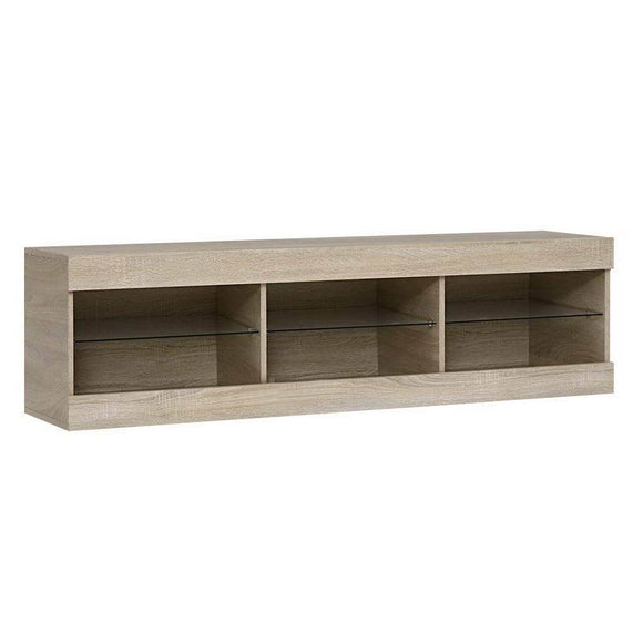 TV Cabinet Entertainment Unit Stand RGB LED Glass Shelf Storage 150cm Oak