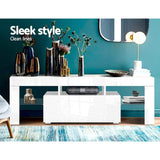 130cm RGB LED TV Stand Cabinet Entertainment Unit Gloss Furniture Drawer Tempered Glass Shelf White