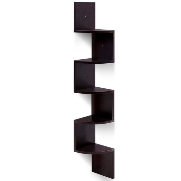 💎 Modern Zig Zag 5 Tier Corner Floating Shelf Brown
