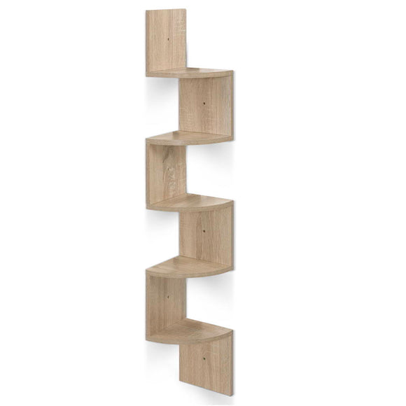 💎 Modern Zig Zag 5 Tier Corner Floating Shelf Oak