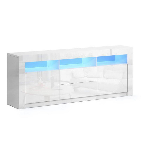 TV Cabinet Entertainment Unit Stand RGB LED Gloss Drawers 160cm White