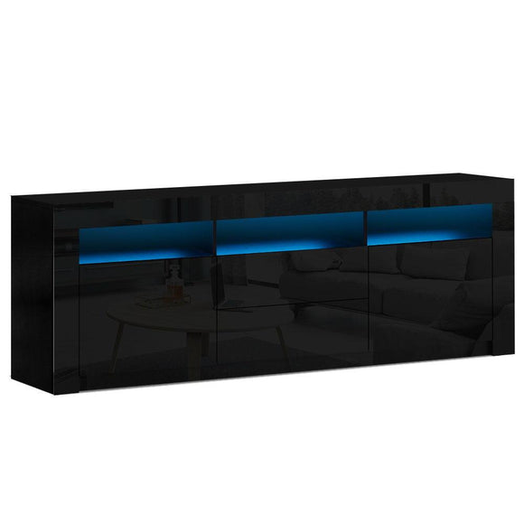 TV Cabinet Entertainment Unit Stand RGB LED High Gloss Furniture Storage Drawers Shelf 180cm Black