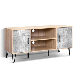 TV Cabinet Entertainment Unit Stand Industrial Wooden Metal Legs Oak