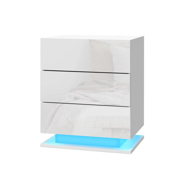 Bedside Tables Side Table RGB LED Lamp 3 Drawers Nightstand Gloss White