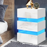 Bedside Table Side Unit RGB LED Lamp 3 Drawers Nightstand Gloss Furniture White