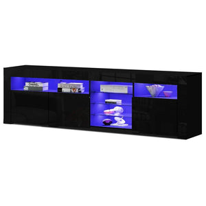 Modern RGB LED Lit TV Entertainment Unit in Gloss Black