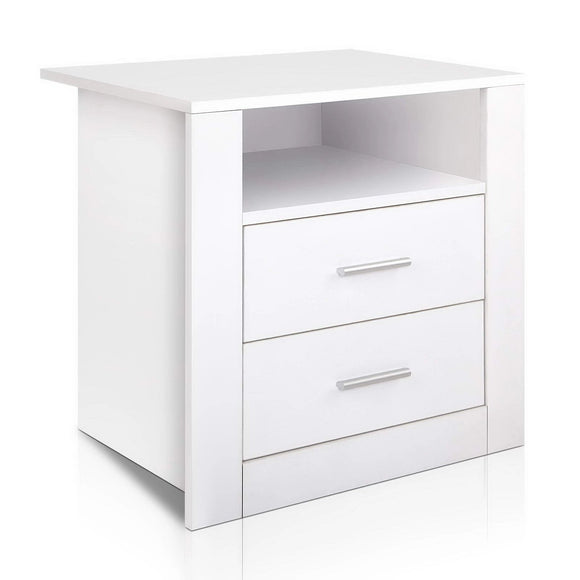 Modern White Bedside Table with Unique Shelf and Two Drawers