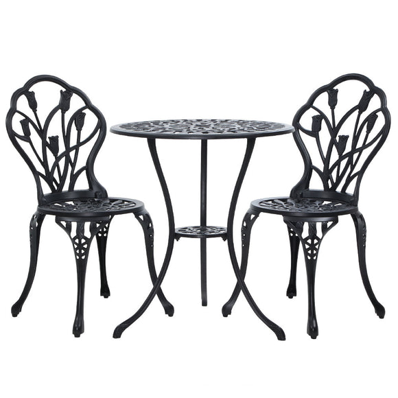 3 Piece Victorian Outdoor Set with Tulip Detail Black