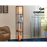 Stylish Floor Lamp with Shelves Brown